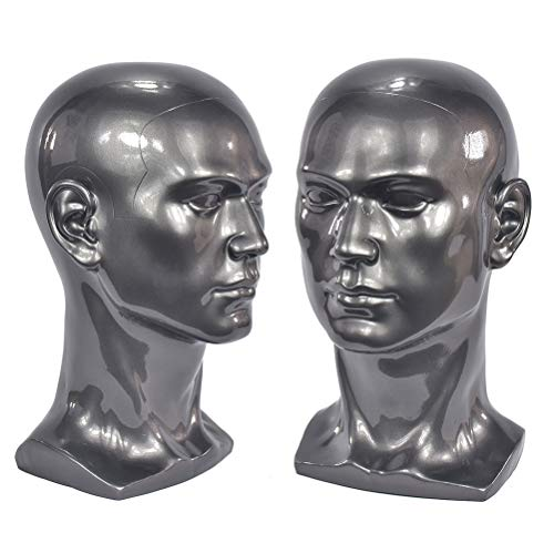 FXS männliche Glatze Schaufensterpuppe Kopf grau, verwendet, um Perücken, Kopfhörer, Spielekonsolen, Hüte, Schmuck, Brillen anzuzeigen