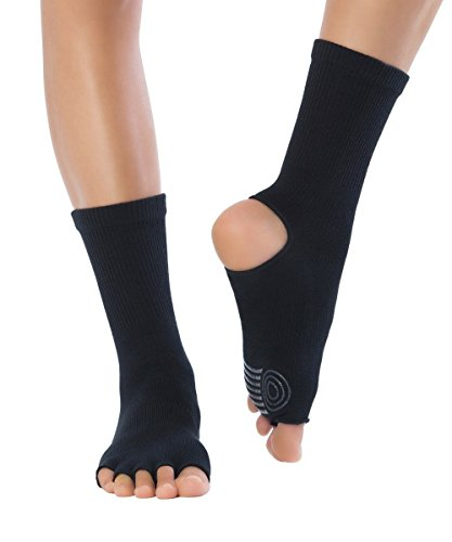 Knitido Yoga-Socken Yoga Flow, Rutschfeste Zehensocken für Yoga, Pilates und Tanz mit offenen Zehen und Grip, aus Baumwolle, für Damen und Herren, Größe:39-42, Farbe:Obsidian (schwarz) (001)
