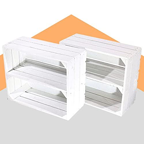 moooble 2er Set Weiße Regalkiste klein 50cm x 40cm x 22cm Schuhregal Kiste Obstkisten Holzkisten Weiss Apfelkiste Weinkiste Mini xs Shabby chic massiv Vintagestyle Altes Land Ablagekiste