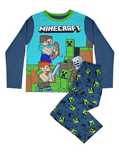 Vanilla Underground Minecraft Steve and Creeper Long Sleeve Boy's Blue Pyjama Set Kids Sleepwear