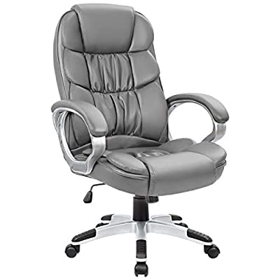 Homall Office Chair High Back Computer Chair Ergonomic Desk Chair, PU Leather Adjustable Height Modern Executive Swivel Task Chair with Padded Armrests and Lumbar Support