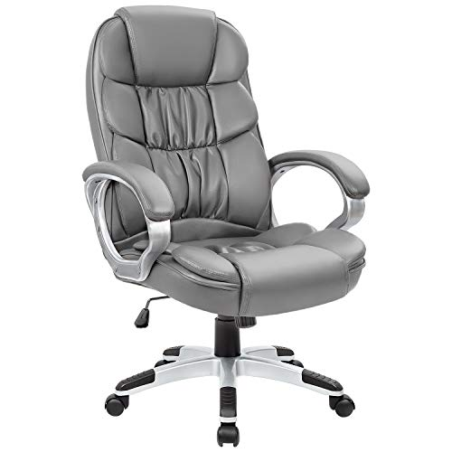 Homall Office Chair High Back Computer Chair Ergonomic Desk Chair, PU Leather Adjustable Height Modern Executive Swivel Task Chair with Padded Armrests and Lumbar Support (Gray)