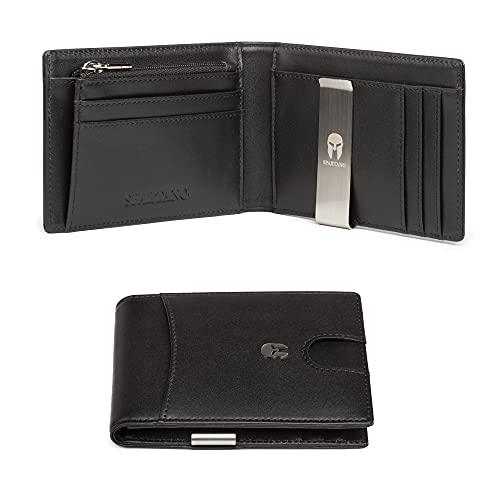 SPARTANO Portafoglio Uomo Slim Vera Pelle con Protezione RFID, Porta Carte di Credito con Clip per Contanti, Portafogli Sottile Tascabile con Portamonete - ADE