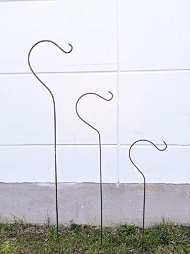 Zen Man Garten Futterhaken GartenStecker Laternenhaken Lampenhaken Gartenstab Laternenstab Haken für Blumenampel Garten Blumenampelhalter Handarbeit (029468-1:35.5 * 1 * 150cm)