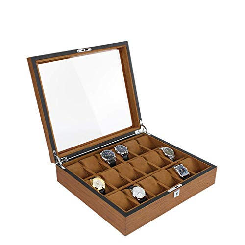 Moda retro minimalista Reloj de madera Caja de almacenamiento 18 Slots con cerradura y vidrio Techo solar Europeo Retro MANTENOS MANTENOS Y Mujeres Reloj de la caja de la caja de la caja de la caja de