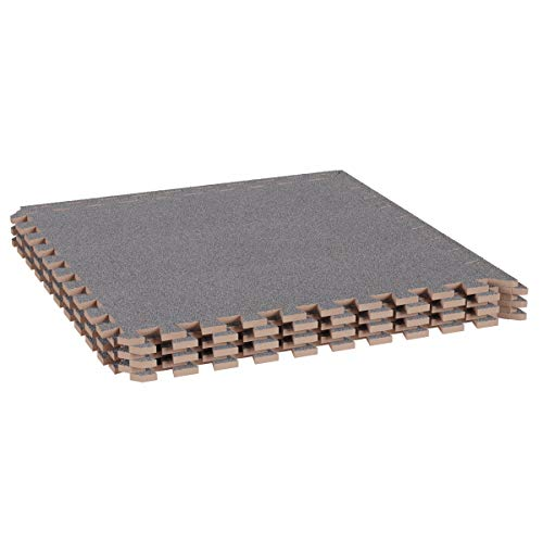 Stalwart Foam Mat Floor Tiles-Interlocking EVA Foam Padding with Soft Carpet Top for Exercise, Yoga, Kids Playroom, Garage, Basement-6PC Set (Gray)