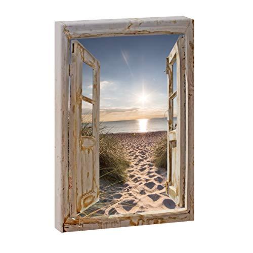 Querfarben Bild auf Leinwand mit Fenster-Motiv Fensterblick Dünenweg | 100 x 65 cm, Farbig, hoch, Wandbild, Leinwandbild mit Kunstdruck, Fensterblickbild auf Holzrahmen gespannt, 65x100 cm