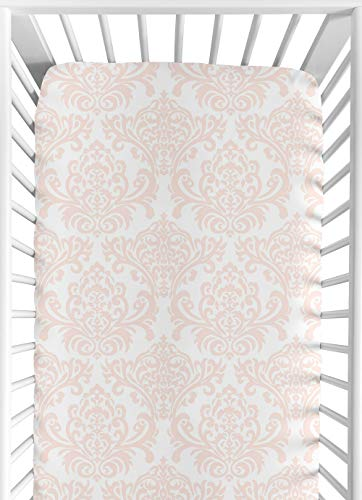 Fitted Crib Sheet for Amelia Baby/Toddler Bedding by Sweet Jojo Designs – Damask Print