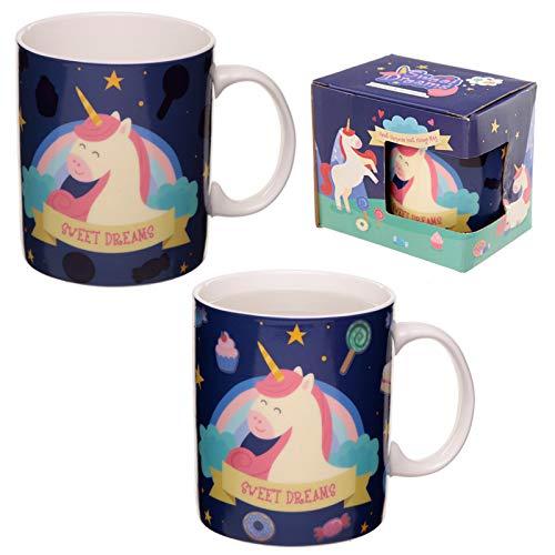 Sweet Dreams - Taza de porcelana con diseño de unicornio que cambia de color