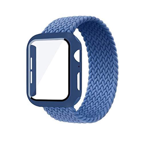 PZZZHF Caso + Correa para la Banda de Reloj de Apple 44 mm 40 mm 42mm 38mm Tela de Pulsera de 38 mm Nylon Braidy Stro Bucle Strap Serie 6 SE 5 4 3 (Band Color : Atlantic Blue, Size : 40mm)
