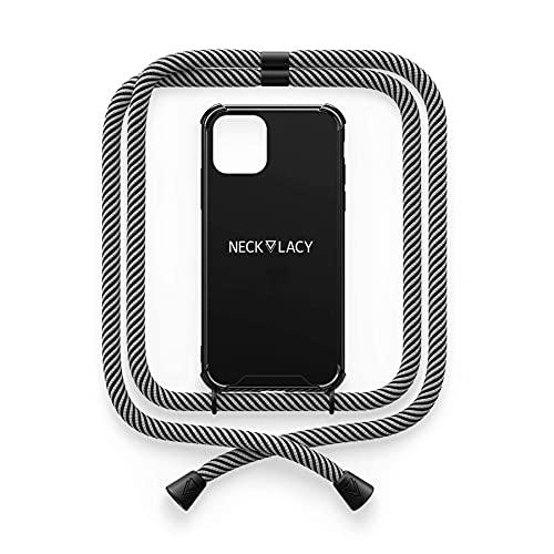 NECKLACY® - The Phone Necklace - Cadena para teléfono móvil para iPhone 12/12 Pro In Black Glow in The Dark   Funda negra con cordón de alta calidad para colgar - Funda cruzada para smartphone