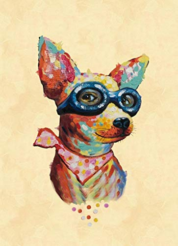 5D DIY Diamond Painting Kits for Adults Colorful Chihuahua Dog Full Drill Crystal Embroidery Cross Stitch Arts Crafts for Home Wall Decor(Square Drill 11.8 Inch'X15.7 Inch')