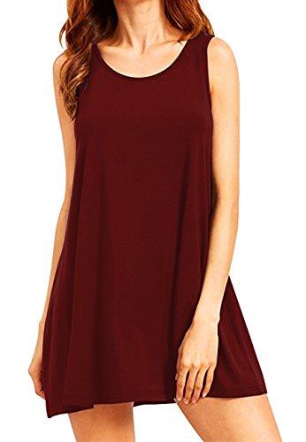 OMZIN Damen Shirtkleid Tank Top Kleid Lockeres Casual Kleid Elegant Einfarbig Sommerkleid Weinrot 2XL