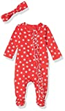 Jessica Simpson Girls' Baby and Toddler Footie, with Headband Tomato, 3-6 Months