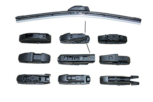Eyesbay 20 inch Flat Frameless Wiper Blade Multiple Buckles Multifunctional Adapter Bracketless Beam Tide Soft Blade Multifunctional Universal Wiper All Size Arm Type for Aftermarket Replacement