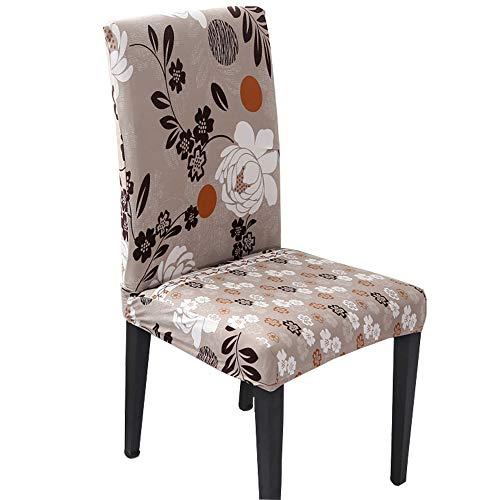 Hzdhclh Stuhlhussen, Stuhlbezüge, Schonbezug für Stühle, cremefarben, waschbar, weich für 4/6 Stück, elastische Montage, Grün/Flamingo, 4 PCS