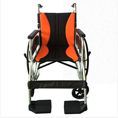 KANJJ-YU Aleación de Aluminio Plegable Suave Silla de Ruedas de los Asientos, de Cuatro Ruedas, sillas de Ruedas portátil, Ligero Ancianos discapacitados Vespa de la Carretilla, Fuentes del Recorrido
