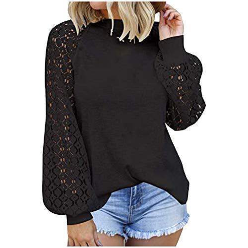 VEMOW Blusas y Camisas de Manga Corta para Mujer, 2021 Moda Casual Camiseta de Encaje Crochet para Mujer Tops Túnica de Manga Larga Ahuecados Blusa Sudadera Suelta Casual Patchwork(B Negro,XXL)