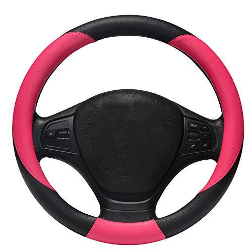ZXPT Caches De Volant Noir Et Rose Femmes De Cuir De Couverture De Volant Protecteur Mignon Anti Dérapant Élégant Résistant Résistant pour Auto/Camion / SUV