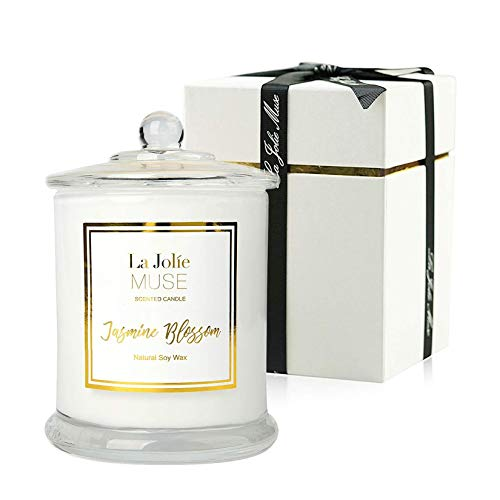 LA JOLIE MUSE Jasmine Scented Candle, Candle Gift for Women, Natural Soy Wax, 65 Hours Burn Fine Home Fragrance, Glass Jar Candles