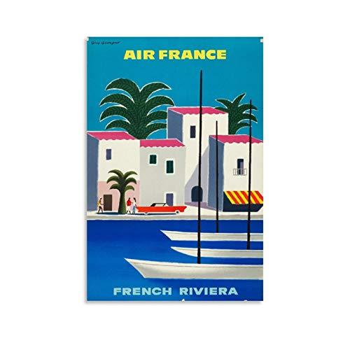 DWBG Air France French Riviera Air France C 1965 Poster de voyage rétro sur toile pour décoration murale de chambre 50 x 75 cm