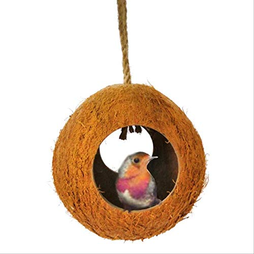 XYBB Bird Nest Primaire kleur papegaai hamster hagedis aquarium kokosnoot shell ontsnappen huis verbergen grot nest twee gaten vogel nest vogel feeder, As shown, A