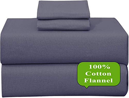 Ruvanti 100% Cotton 4 Piece Flannel Sheets Full-Deep Pocket-All Seasons-Warm-Super Soft-Grey / Gray-Breathable & Moisture Wicking Flannel Bed Sheet Set Full Include Flat, Fitted Sheet & 2 Pillowcases