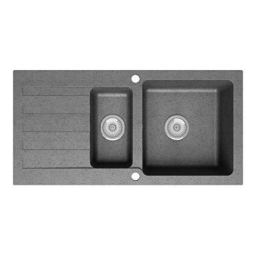 Lavello Granite Quartz 1.5 Bowl Reversible Kitchen Sink inc. Waste   Single Drainboard   Cobblestone Grey