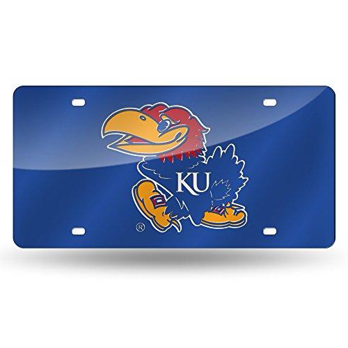 NCAA Rico Industries Laser Inlaid Metal License Plate Tag, Kansas Jayhawks