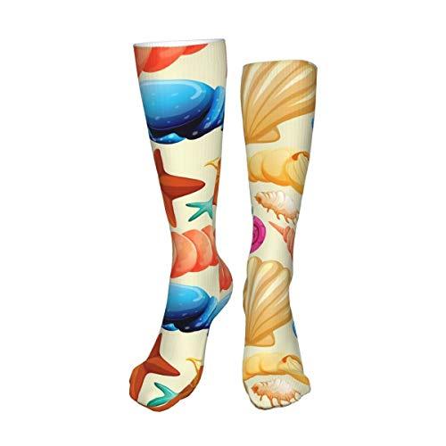 Decams Calcetines unisex de muslo alto, sin costuras, con fondo largo, para botas altas, calentadores de pierna alta, calcetines deportivos