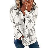Jersey Tie-Dye con Estampado de Mariposas Estrella Playera Casual Tipo Polo Cuello de Pico Tops de Camiseta de Manga Larga con Cremallera de Solapa Casual de Moda para Mujer (Blanco1, XL)