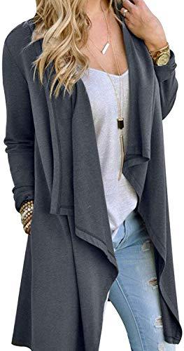 Little Beauty Womens Open Drape Long Sleeve Sweater Cardigans Grey XL