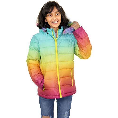 A2Z 4 Kids Kids Girls Puffer Jacket Faux Fur Hooded Two Tone 3D Faded School - Jacket JK22_Rainbow 9-10