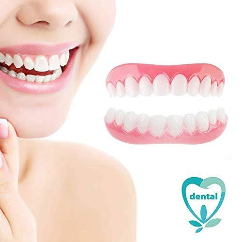 HJHY@ Provisorische Zahnersatz Kosmetische Zähne Veneers Whitening Provisorischer Zahnprothese simulieren Zahnmedizin für perfekte Lächeln 1 Paar (Oberkiefer und Unterkiefer)