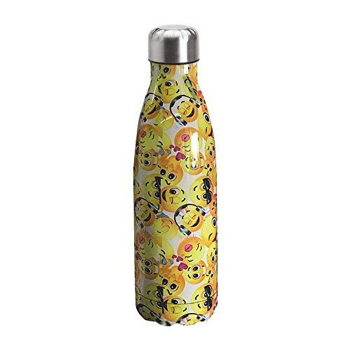 NM Borraccia Termica 500 ml in Acciaio Inox 304 Bottiglia Acqua Alta qualità Adatta Viaggi Bambini Sport Palestra Scuola Lavoro Tempo Libero Riutilizzabile Idea Regalo (Emoji)