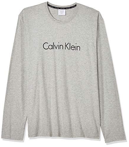 Calvin Klein L/s Crew Neck Long Sleeve Top Camiseta, Gris (Heather Grey 080), XL para Hombre