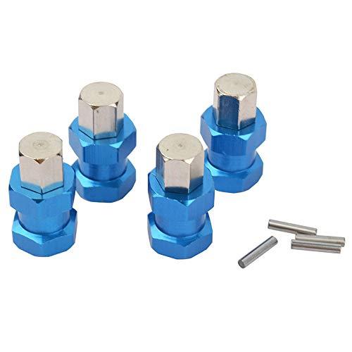 Jaimenalin 4Pcs Aluminio RC Coche 12Mm Adaptador de CombinacióN de ExtensióN de Adaptador de Cubo de Rueda Hexagonal Acoplador para 1/10 RC Crawler Axial SCX10 D90, Azul 15Mm