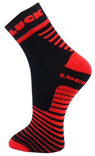 LUCK Calcetines tecnicos Especialmente diseñados para la Practica de Cualquier Deporte. (Corto, Rojo