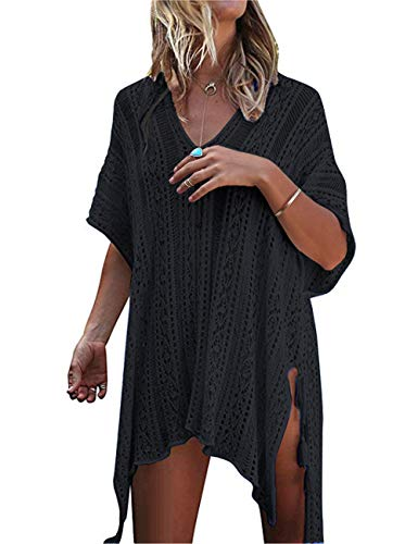 QIUYEJUO Women#039s Crochet Swimsuit Beach Cover Up Loose Fringe Bathing Suit Bikini Dress