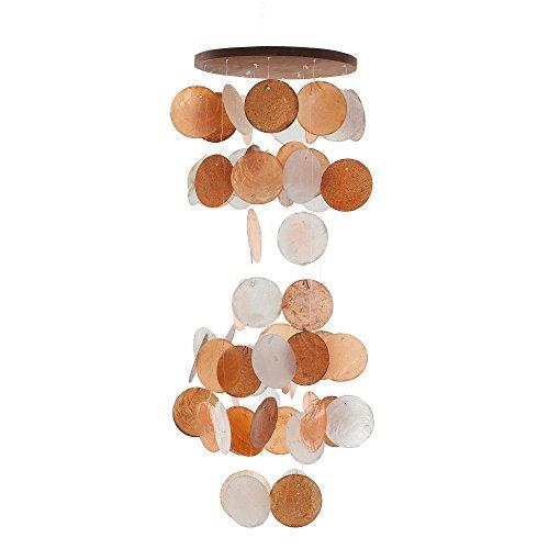 HAB & GUT -HA106- Carillon Di Vento Arancio/Bianco, Madreperla, 60 Cm, Acchiappasogni, Mobile Per Decorare La Finestra, Parete, Camere, Terrazze E Balcone
