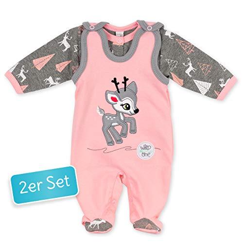 Koala Baby Baby Set Strampler + Shirt rosa grau | Motiv: Reh | Babyset 2 Teile mit Rehkitz für Neugeborene & Kleinkinder | Größe: 6 Monate (68)
