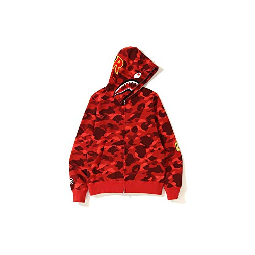 Best Shark Head Classic Hood Camouflage Felpa Felpa Moda Maglia Street hot Jacket rosso Colore L