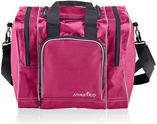 Athletico Bowling Bag für Single Ball - Single Ball Einkaufstasche mit gepolstertem Ballhalter - Für EIN Paar Bowlingschuhe bis Herrengröße 14 (Rosa)