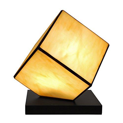 World Art TWTC08137 Chevet Cube Lampe de Table de Nuit Style Tiffany, Verre, E14, 25 W, Multicolore, H24 x L22 x S22 cm