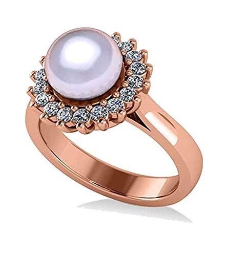 Anillo de compromiso con halo de Perla y Diamante 14k Oro rosa 8mm (0.36ct), Anillo de compromiso de oro Por siempre uno, Anillo de matrimonio, Promesa Oro Anillo
