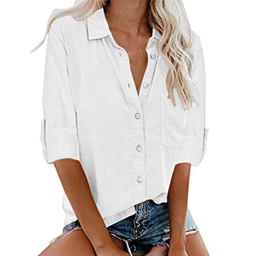 Xmiral Lange Ärmel Bluse Damen Einfarbig Knopf Umlegekragen Beiläufige Populäre Bluse Oberseiten Schaltflächen Hemd Bluse Tunika Top mit Taschen(A Weiß,XXL)