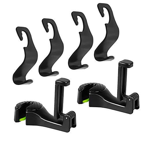 Hantier 6 stuks autostoelhoofdsteunhaken, 2 stuks 2-in-1 autohoofdsteun haken met telefoonhouder, 4 stuks S-vormige autohoofdsteunhaken voor het ophangen van tas/doek/levensmiddelenwinkel