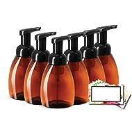 Baire Bottles FOAMING SOAP DISPENSERS, Brown Amber Plastic, 8.30 OZ with Black Pumps - Turn Your Soap, Shampoo, Body Wash into Luxurious Foam, PET, BPA Free, 6 PK, Bonus 6 Floral Labels