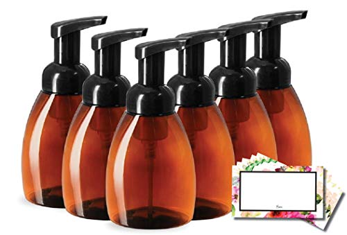Baire Bottles FOAMING SOAP DISPENSERS, Brown Amber Plastic, 8.30 OZ with...