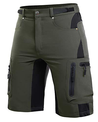 Cycorld MTB Hose Herren Radhose, Mountainbike Hose Fahrradhose Herren Kurz, Schnelltrocknende MTB Shorts Radlerhose Herren Atmungsaktiv Outdoor Bike Shorts (Grün, XL)